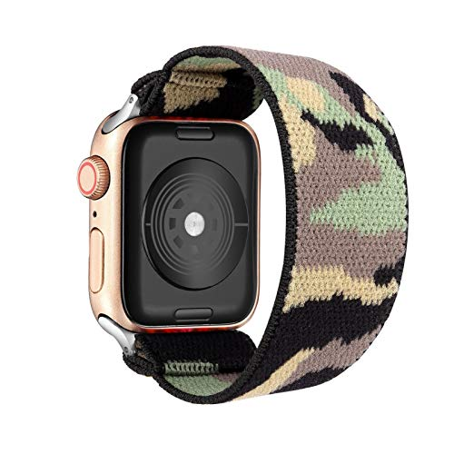 DAAGFC Loop Banda Bohemia elástico de Nylon for Apple Seguir 6SE Correa 38/40 mm 42/44 mm for IWATCH 5/4/3 2 Hombre Mujeres Ver Banda (Band Color : Camouflag, Band Width : 38mm 40mm S M)