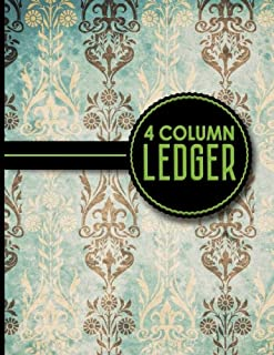 4 Column Ledger: Account Book, Accounting Journal Entry Book, Bookkeeping Ledger For Small Business, Vintage/Aged Cover, 8.5