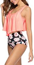 AXZJ Women Women Wrapped Top Floral Bottom Swimsuit Two Piece Set Sexy Swimsuit-2-4_S
