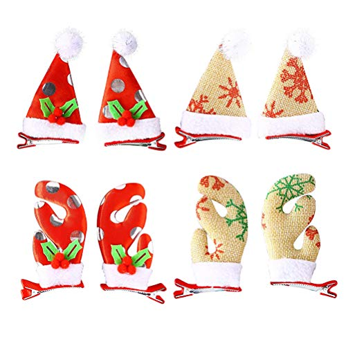 Toyvian Weihnachten Haarspange Weihnachtsmütze Rentier Geweih Design Haarklammern Weihnachten Haarschmuck Party Gastgeschenk 16 Stück