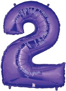 Betallic Foil Balloon 15842PB Number 2-Purple Megaloon, 40