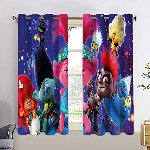 Cortinas opacas para niños con diseño de trolls, para sala de estar, con ojales, para dormitorio, 84 x 84