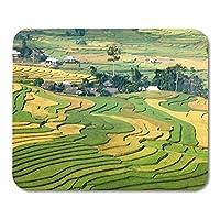マウスパッド緑の農業段々畑Mu Cang Chai District Yenマウスパッドノートブック用、デスクトップコンピューターマットオフィス用品