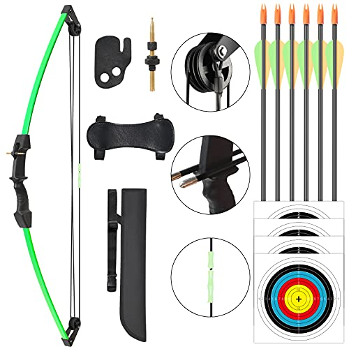 ASDW Archery Kids Bow Set Compound Youth Gift Bow Sports Hunting Set Outdoor Practice Target Kids Bow Right and Left Hand Bow Set Birthday Gift Bow for Age 6 to 12