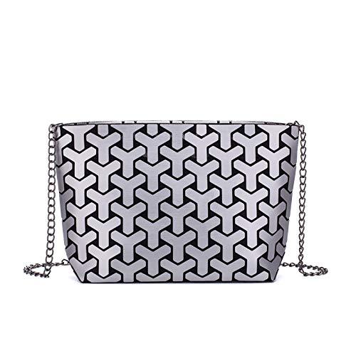 Fashion Matte Women Chain Shoulder Bag Geometry Luminous Handbag Clutch for Girls Folding Messenger Bag Bolsa Feminina Silver