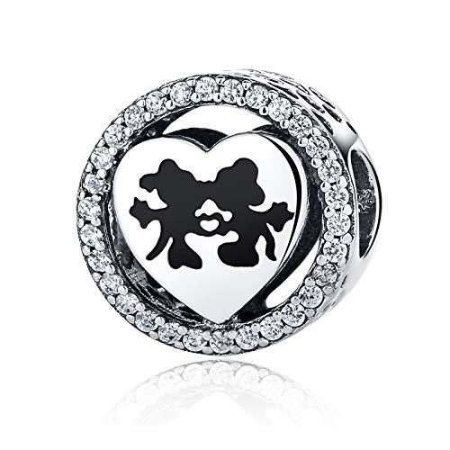 NINGAN Disney Mickey & Minnie Mouse Love Charms 925 Sterling Silver Beads Fits Women's Bracelets & Necklaces