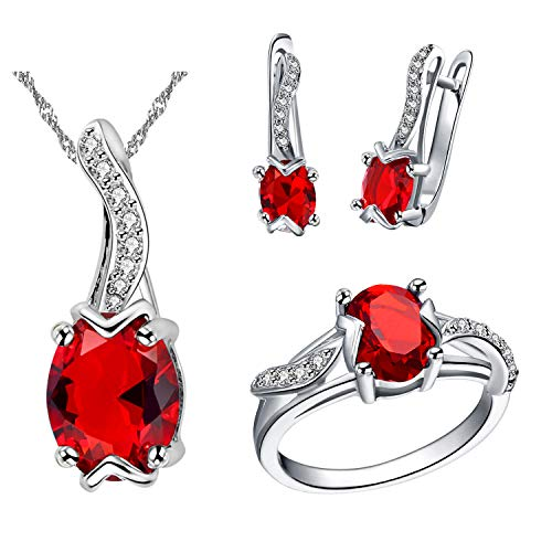 Uloveido Women Dainty Simulated Ruby Pendant Necklace July Birthstone Earrings and Red Ring Silver Color Party Prom Jewelry Set for Girlfriend Girls (Red, Size 7) T233