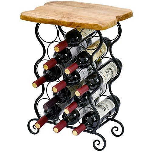 WELLAND 13 Bottle Wine Rack with Natural Edge Table Top, Metal & Wood Free Standing Floor Wine Storage Rack, Easy to Assemble