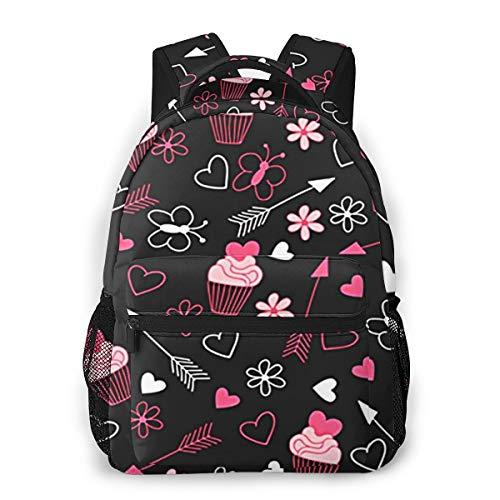 Laptop Rucksack Schulrucksack Liebes Kuchen Schmetterlings Blume, 14 Zoll Reise Daypack Wasserdicht für Arbeit Business Schule Männer Frauen