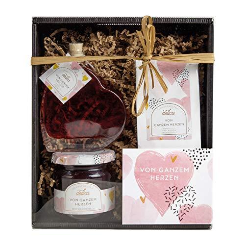 LAUX Geschenkset Von Ganzem Herzen mit Tee, Fruchtaufstrich und Likör in schöner Verpackung zum Verschenken