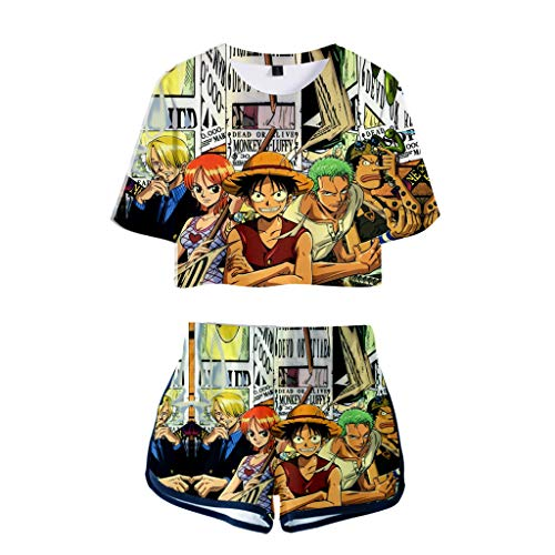 New Womens Anime One Piece Crop Top Shirt and Shorts Cute One Piece Manga Zoro Luffy Cosplay Tshirt Pants Tracksuits (E,2XL)