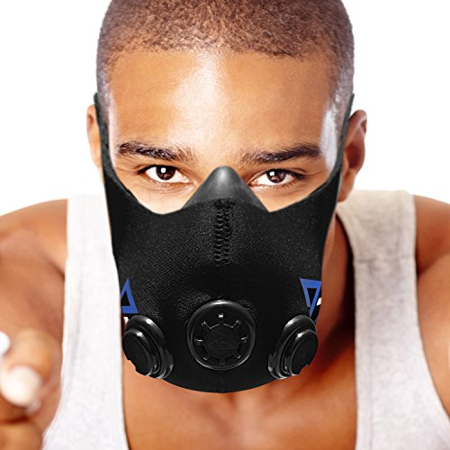 TRAININGMASK Elevación máscara de Entrenamiento de Resistencia para Ejercicios, Fitness, Correr, Deportes, Crossfit Entrenamiento a intervalos de Alta Intensidad … (Black, Medium)