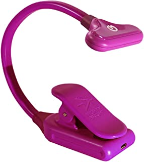 The Original Mighty Bright NuFlex Clip On Book Light Reading Light, Warm Eye Care LEDs, Super Flexible, Durable, Dimmable, Perfect for Kids, Bookworms, Read in Bed, Use Batteries or Micro USB (Pink)