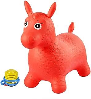 Xyanzi Juguetes para Bebés Caballo Saltarín, Bomba Incluida (tolva Espacial Inflable, Caballo Saltarín, Animal Inflable Montado En Una Motocicleta) (Color : Rojo)