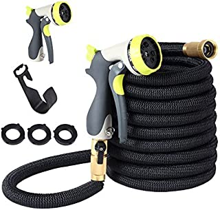 Garden Hose Flexible Water Hose - 50ft Expandable Flexible Water Hose with 3/4 Nozzle Solid Brass Connector and High Pressure Water Spray Nozzle Expanding Hoses with 3/4 Solid Brass Fittings Including