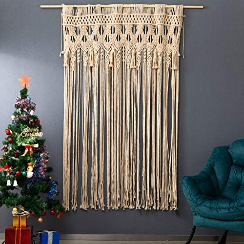 """ARTALL Wall Hanging Macrame Boho Wedding Backdrop Curtain Window and Door Curtain Bohemian Tapestry for Home and Wedding Decor, 52"""" W x 70"""" H"""