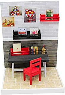 Pocohouze DIY Miniature Dollhouse Wooden Kit with Furniture and Accessories Creative Doll House 3D Puzzle Starter Pack Easy Assembly Set (Workroom)