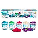 GenioKids Set Smart sand sabbia cinetica 0,75 kg, sabbia magica per bambini in 5 colori: naturale, rosa, verde, blu, viola