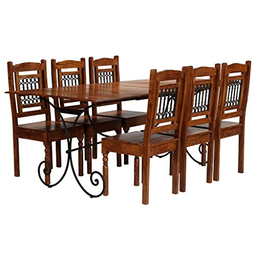 honglianghongshang Möbelgarnituren Küchen- & Esszimmergarnituren Essgruppe 7-TLG. Akazienholz Massiv mit Sheesham-Finish