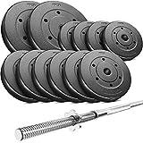Set d´haltère Trex avec disques revêtement plastique 30 kg, 60 kg ou 90 kg, Barre longue 167 cm (60 kg)