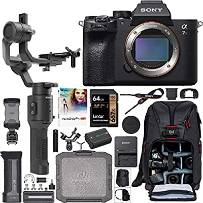 Sony a7R IV Full-Frame Mirrorless Interchangeable Lens Camera Body ILCE-7RM4 61.0MP Filmmaker's Kit with DJI Ronin-SC 3-Axis Handheld Gimbal Stabilizer Bundle + Deco Photo Backpack + 64GB + Software from Sony
