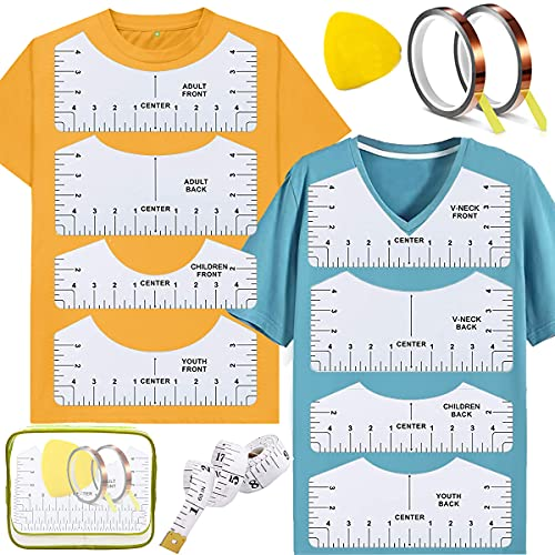 Acmerota Guía de regla de camiseta de 13 piezas para vinilo, herramienta de alineación de camiseta, guía de regla de camiseta de PVC para diseño central de ropa con bolsa de almacenamiento
