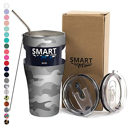 Smart Cooler 30 Oz. Sweat Free Ultra-Tough Double Wall Stainless Steel Tumbler Cup with Leak-proof Heavy Duty Tumbler Lids (Slide Lid & Flip Lid), Straw, Cleaning Brush - Light Camo