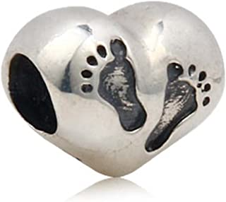 Footprint Charm with Heart 925 Sterling Silver Family Love Bead Baby First Steps Charm for Bracelet (C)