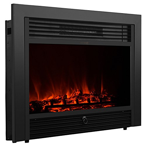 """XtremepowerUS 28.5"""" Embedded Fireplace Electric Insert Heater Glass View Log Flame Stove Adjustable 1500W Remote, Black"""