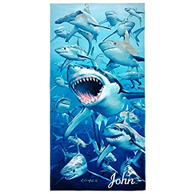 Kaufman - Hungry Sharks Personalized Kids Beach and Pool Towel 30''X60'' Embroidered Soft Absorbent and Dry Fast 100% Cotton(106042)