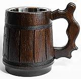 Handmade Beer Mug Handmade Wooden Tankard Beer Stein -20 oz. D&D Mug, Oak Mug With Stainless Steel Inside Eco-Friendly   Vintage Bar accessories - Barrel Brown Classic Design - Great Gift Idea for Men