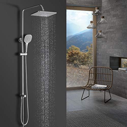 BONADE Regendusche Ohne Armatur Duschsystem mit Handbrause Kopfbrause Höhenverstellbare Duschstange aus Edelstahl Duschset Duschkopf Duschsäule Duscharmatur mit Schlauch und Halterung