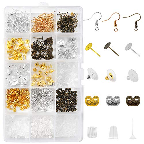 820 Pieces Earring Making Supplies Kit with Earring Hooks Soft Clear Earring Backs Rubber Ear Studs with Butterfly Earring Posts and Backs Ear Pins for Women Girls DIY Jewelry Earrings