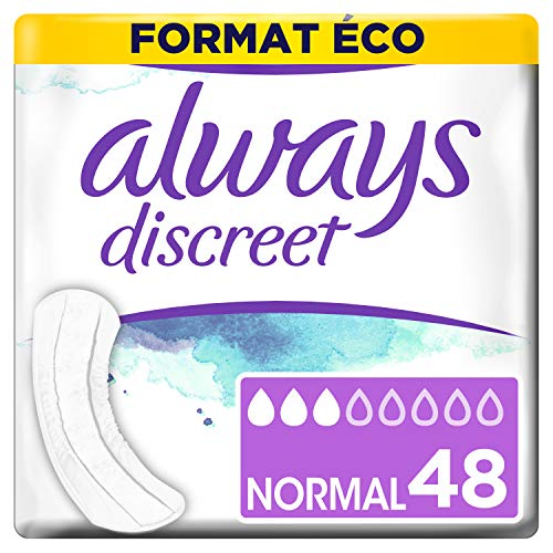 Always Discreet 0% - Serviettes pour incontinence / fuites urinaires, Format éco x48 (plusieurs tailles / absorptions)