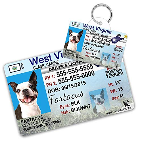 West Virginia Driver License Custom Dog Tag for Pets and Wallet Card - Personalized Pet ID Tags - Dog Tags for Dogs - Dog ID Tag - Personalized Dog ID Tags - Cat ID Tags - Pet ID Tags for Cats