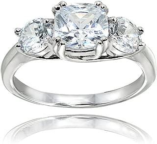 Sterling Silver Cubic Zirconia Cushion Cut Three-Stone Royal Engagement Wedding Ring