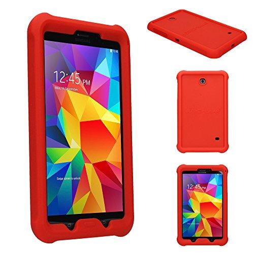 TECHGEAR Schutzhülle für Samsung Galaxy Tab 4 8,0 (SM-T330 SM-T331 SM-T335), [Kinderfreundlich] Leichtes Koffer Silikon Soft Shell Anti-Rutsch-Shockproof verstärkte Ecken + Displayschutzfolie. Rot