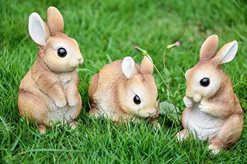Victor's Workshop Set di 3 Coniglietto di Pasqua in Poliresina 13/11/8cm Decorazione di Pasqua Figurina e Statuetta di Conigli Pasquali Decorazione di Primaverile per Pasqua Casa Giardino