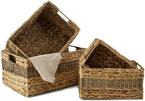 Made Terra Set of 4 Rectangular Nesting Wicker Storage Basket Bins Decorative Wire Woven Organiser product image