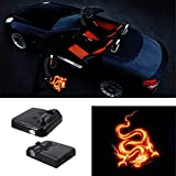 Premium Wireless Car Door light Projector Led Easy Installed Welcome Laser Projector Pastable Logo Light Holeless Ghost Shadow Lamp Logos Replacement For All Car Accessory 2 Pcs (FIRE DRAGON)