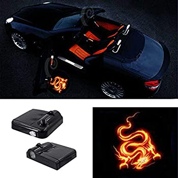 Premium Wireless Car Door light Projector Led Easy Installed Welcome Laser Projector Pastable Logo Light Holeless Ghost Shadow Lamp Logos Replacement For All Car Accessory 2 Pcs  FIRE DRAGON