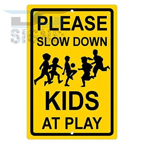bienternary Veuillez Ralentir AY Jeux pour enfants Jaune En Aluminium plaque métal Signes Boîte signalisation vintage plaques Signs decorative plaque