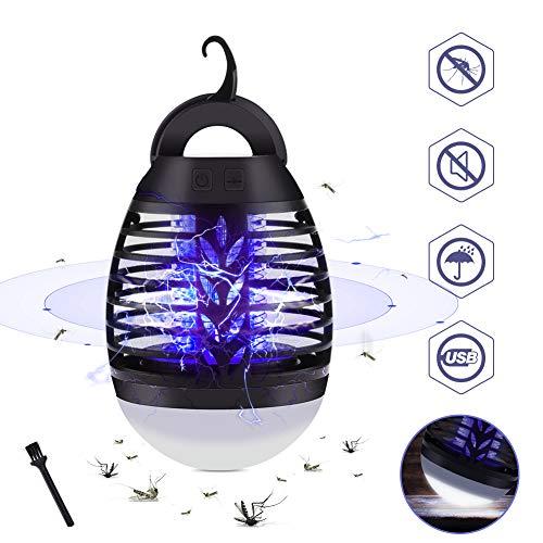 GEEDIAR 2-in-1 Lampada Zanzare Elettrico, IP67 Impermeabile UV Lampada Antizanzare Lanterna, 5W Zanzariera Elettrica con 2200mAh USB Ricaricabile, 3 Luminosità di LED Luce per Esterno Campeggio