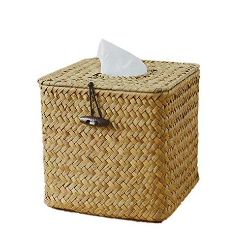 Fablcrew - Scatola per fazzoletti quadrata, in rattan, per casa, hotel, ufficio, auto, bagno
