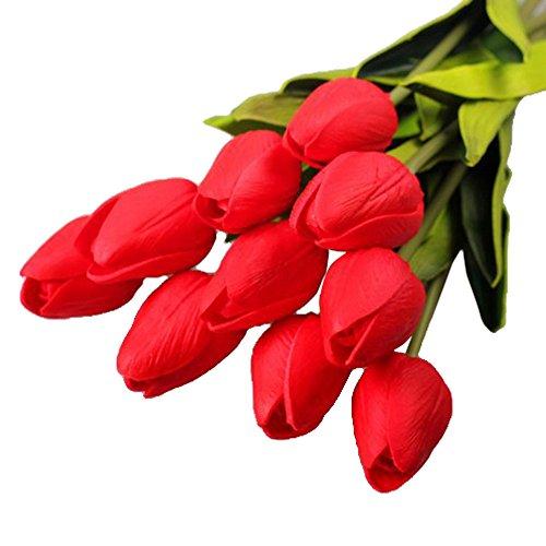 Andouy 10PC/12PC Künstliche Blume Unechte Blumen Real Touch Latex Gefälschte Tulpe Dekor Seidenblumen Tischdekoration(10 PC.Rot)