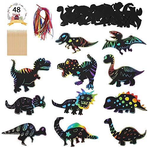 Dibujo Scratch Paper, Hojas Dibujo Scratch, 48 Hojas Hojas Papel de Rascar Dinosauria con 48 pcs Cuerda de Colores y 12 pcs Pluma de Madera, para Dibujo Infantil Y DIY Manualidades Rascar para Niños