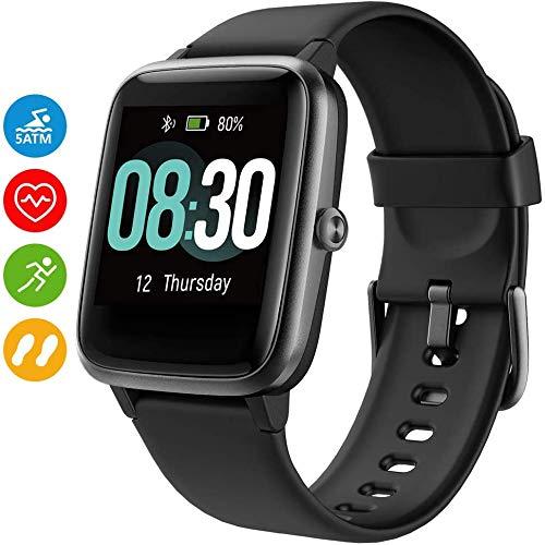UMIDIGI Smartwatch Uwatch3 Fitness Tracker 5 ATM Armbanduhr Sportuhr Smart Watch Pulsuhr mit Schlaftracker für Damen Herren Kinder Kompatibel mit Android und IOS Xiaomi Samsung Huawei, Schwarz