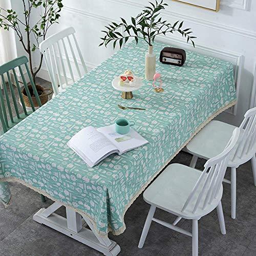 XIAOE Mantel de Mesa Mantel de Lino de algodón Decorativo para el hogar Mantel sólido Azul para Cocina Mantel Rectangular Mancha a Prueba de Polvo Tela Decorativa Mantel 90 * 90cm