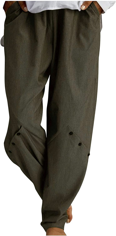 Bikegna discount Women Vintage Elastic Waist Free Shipping New Pants Pocket Button Straight