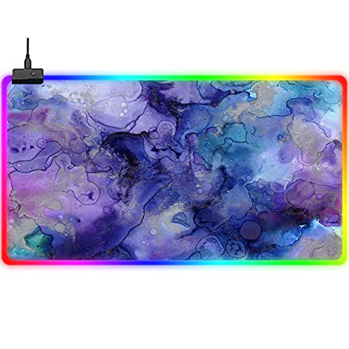 Gaming Mouse Pads Purple Watercolor Artistic Large RGB Gaming Mouse Pad Improves Precision Speed Extended LED Keyboard Pad 14 Lighting Modes Glowing Computer Desk Mat for Laptop Gamer 23.6x11.8Inch